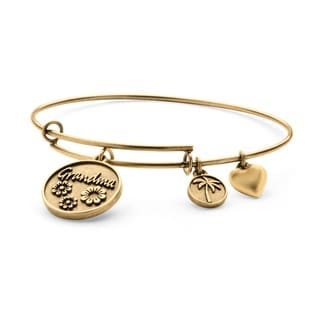 PalmBeach Goldtone Grandma Charm Tailored Bangle Bracelet