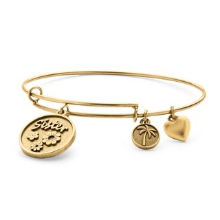 PalmBeach Goldtone Sister Charm Tailored Bangle Bracelet