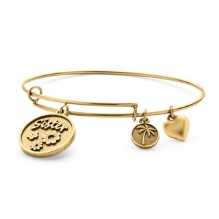 Goldtone Sister Charm Tailored Bangle Bracelet