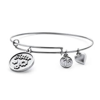 PalmBeach Silvertone Sister Charm Tailored Bangle Bracelet