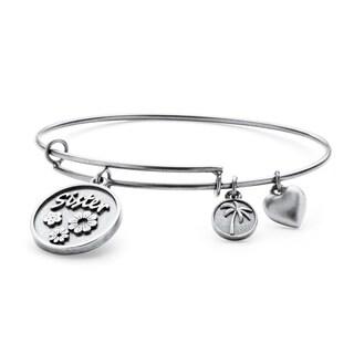 Silvertone Sister Charm Tailored Bangle Bracelet