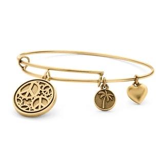 PalmBeach Goldtone Peace Tailored Charm Bracelet