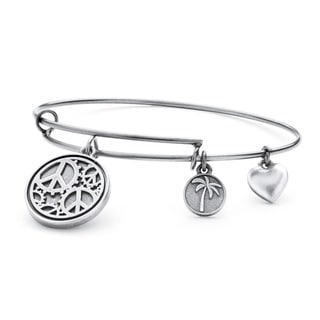 Silvertone Peace Tailored Charm Bracelet