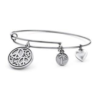 PalmBeach Silvertone Peace Tailored Charm Bracelet