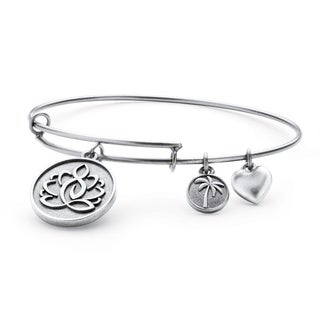 Silvertone Lotus Charm Tailored Bangle Bracelet