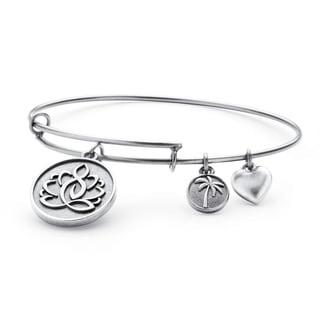 PalmBeach Silvertone Lotus Charm Tailored Bangle Bracelet