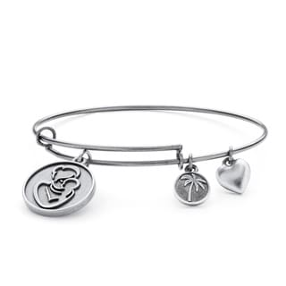Silvertone Mother Charm Tailored Bangle Bracelet