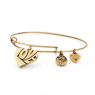 Goldtone Love Charm Tailored Bangle Bracelet