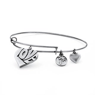 PalmBeach Silvertone Love Tailored Charm Bracelet