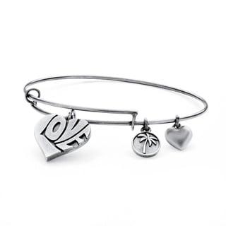 PalmBeach Silvertone Love Tailored Charm Bracelet