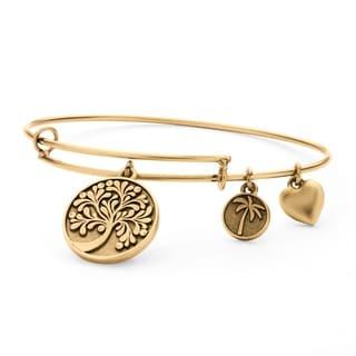 PalmBeach Goldtone Tree of Life Tailored Charm Bracelet