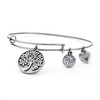 Silvertone Tree of Life Tailored Bangle Bracelet