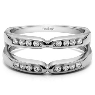 TwoBirch Sterling Silver 1/4ct TDW Diamond Pinched Center Classic-style Ring Guard Enhancer