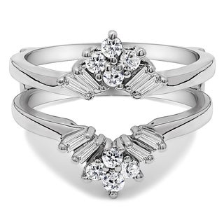 Platinum 2/5ct TDW Diamond V Shaped Round and Tapered Baguette Ring Guard (G-H, SI2-I1)
