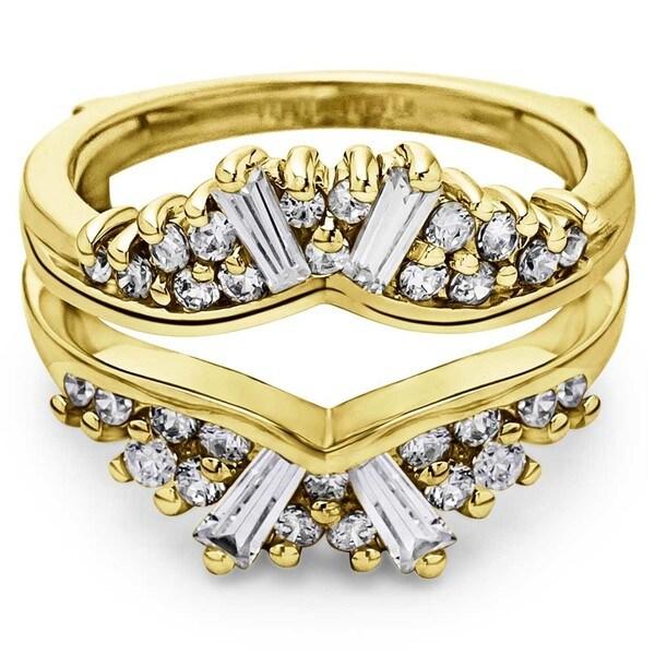 TwoBirch 14k Gold 1/2ct TDW Diamond Chevron Fan-style Ring Guard