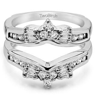 Platinum 2/5ct TDW Diamond Bow-style Ring Guard Enhancer (G-H, SI2-I1)