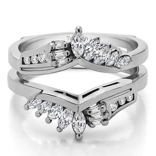 TwoBirch Platinum 1 7/8ct TDW Diamond Chevron Anniversary-style Ring Enhancer (G-H, SI2-I1)