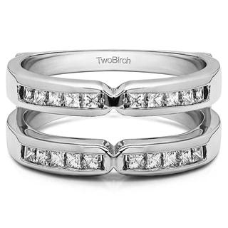 TwoBirch Platinum 1/3ct TDW Diamond Traditional X-style Jacket Ring Enhancer (G-H, SI2-I1)