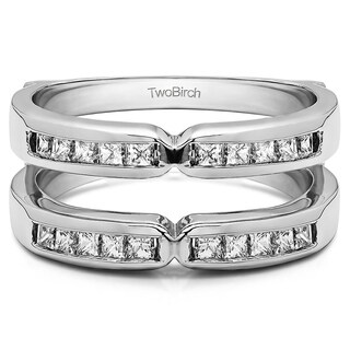 TwoBirch Platinum 1/3ct TDW Diamond Traditional X-style Jacket Ring Enhancer