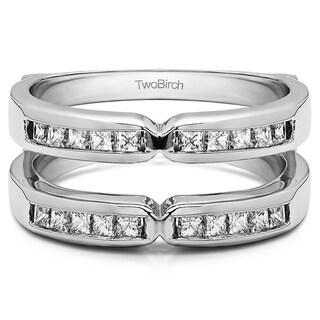 TwoBirch Platinum 1/3ct TDW Diamond Traditional X-style Jacket Ring Enhancer