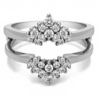 Platinum 1/4ct TDW Diamond Double-row Prong-set Ring Guard (G-H, SI2-I1)