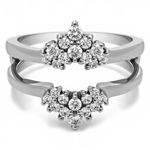 TwoBirch Sterling Silver 1/4ct TDW Diamond Double Row Prong Set Ring Guard
