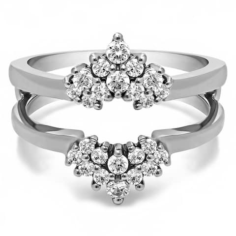 TwoBirch Sterling Silver 1/4ct TDW Diamond Double Row Prong Set Ring Guard - White