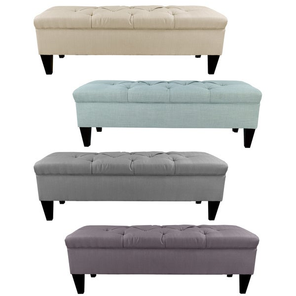 Brooke Diamond Tufted Upholstered Long Storage Bench Ottoman Free Shipping Today Overstock
