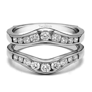 twobirch sterling silver 12ct tdw diamond graduated contour style ring guard - Wedding Ring Guard