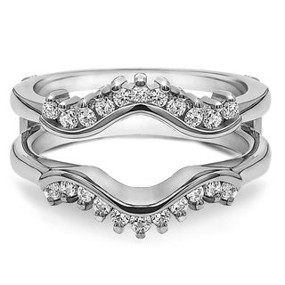 Platinum 1/4ct TDW Diamond Wave-inspired Classic Ring Guard (G-H, SI2-I1)