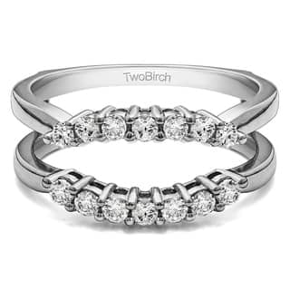 TwoBirch 10k Gold 1/4ct TDW Diamond Double Shared Prong Contour Ring Guard|https://ak1.ostkcdn.com/images/products/10396889/P17499586.jpg?impolicy=medium