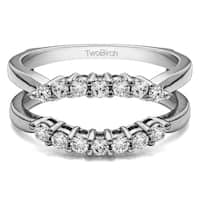 TwoBirch 14k Gold 1/3ct TDW Diamond Double Shared Prong Contour Ring Guard