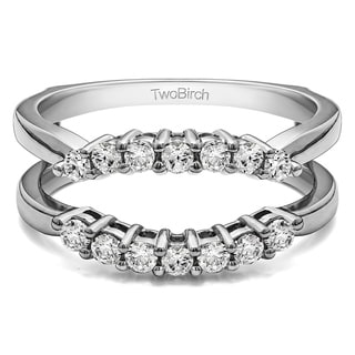 Sterling Silver 1/3ct TDW Diamond Double Shared Prong Contour Ring Guard (G-H, I2-I3)