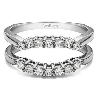 TwoBirch Sterling Silver 1/3ct TDW Diamond Double Shared Prong Contour Ring Guard