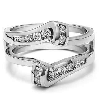 TwoBirch Platinum 1/3ct TDW Diamond Classic Bypass Twist-style Jacket Ring Guard
