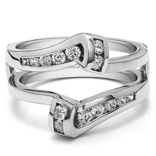 TwoBirch Sterling Silver 1/3ct TDW Diamond Classic Bypass Twist-style Jacket Ring Guard