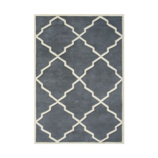 Alliyah Handmade Bluish Grey New Zealand Blend Wool Rug (5' x 8')
