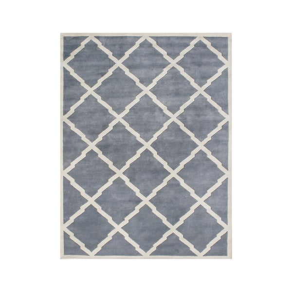 Alliyah Handmade Bluish Grey New Zealand Blend Wool Rug - 9' x 12'
