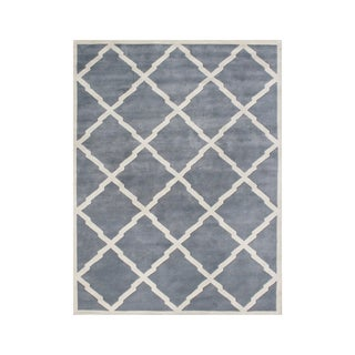 Alliyah Handmade Bluish Grey New Zealand Blend Wool Rug (9' x 12')