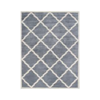 Alliyah Handmade Bluish Grey New Zealand Wool Rug (10u0027 X 12u0027)