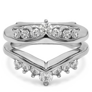 Platinum 2/5ct TDW Diamond Chevron-style Ring Guard Enhancer (G-H, SI2-I1)