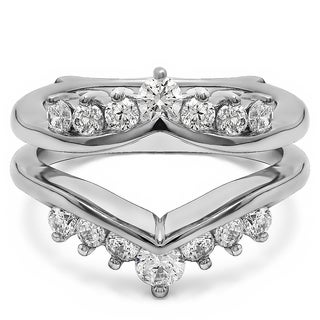 TwoBirch Sterling Silver 2/5ct TDW Diamond Chevron-style Ring Guard Enhancer (More options available)