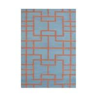 Alliyah Handmade Smoke Blue Flat Weave Wool Rug - 5' x 8'