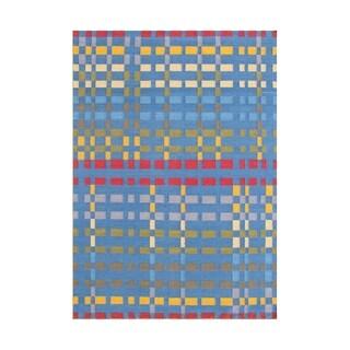 Alliyah Handmade Blue Flat Weave Wool Rug (5' x 8')