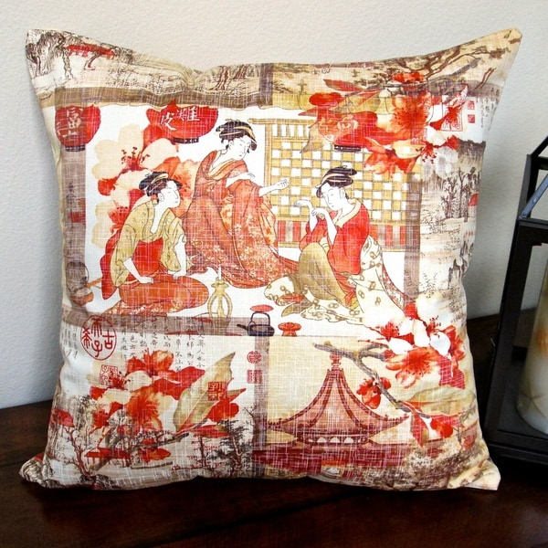 Pillows Indoor 18 Inch High End Asian Far East Oriental Orange Modern Accent Throw