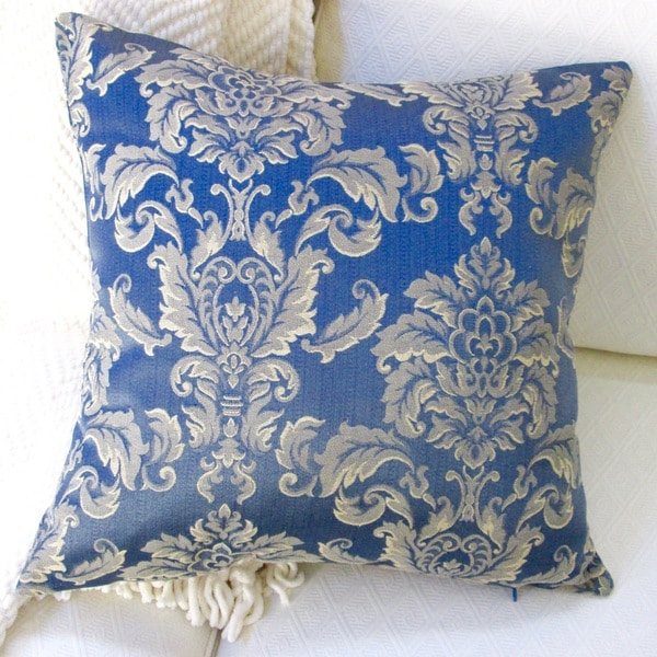 Pillows Indoor 20 Inch Morante In Bermuda Royal Blue European Damask Modern Accent Throw
