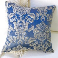 Artisan Pillows Indoor 20-inch Morante in Bermuda Royal Blue European Damask Modern Accent Throw Pillow Cover