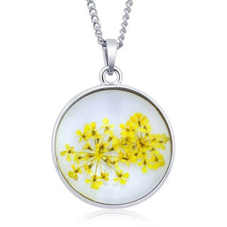 Sterling Silverplated Round Glass Genuine Dry Forget-Me-Not Yellow Flowers Necklace