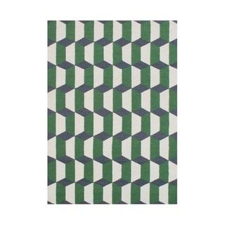 Alliyah Handmade Forest Green Flat Weave Wool Rug (5' x 8')