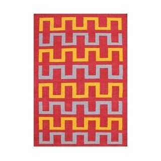 Alliyah Handmade Maroon Flat Weave Wool Rug (5' x 8') - 5' x 8'